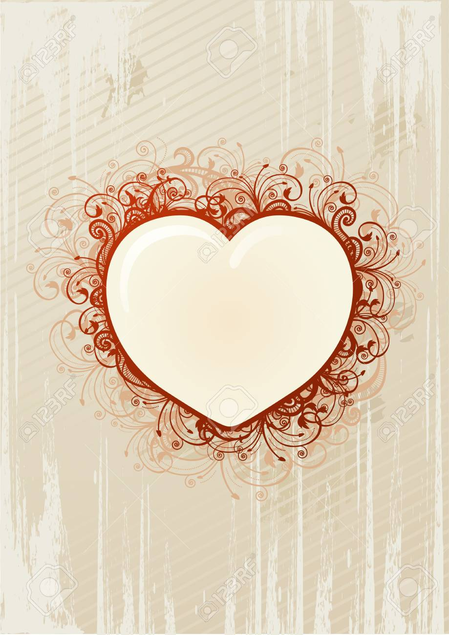 Vector illustration of floral heart over beige background Stock Vector - 4180488