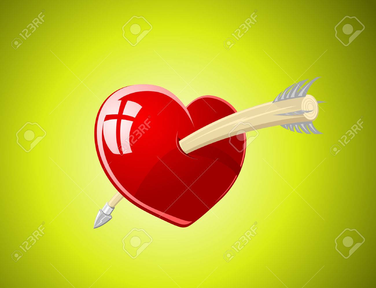 Vector illustration of glossy heart with arrow over green background Stock Vector - 4237329