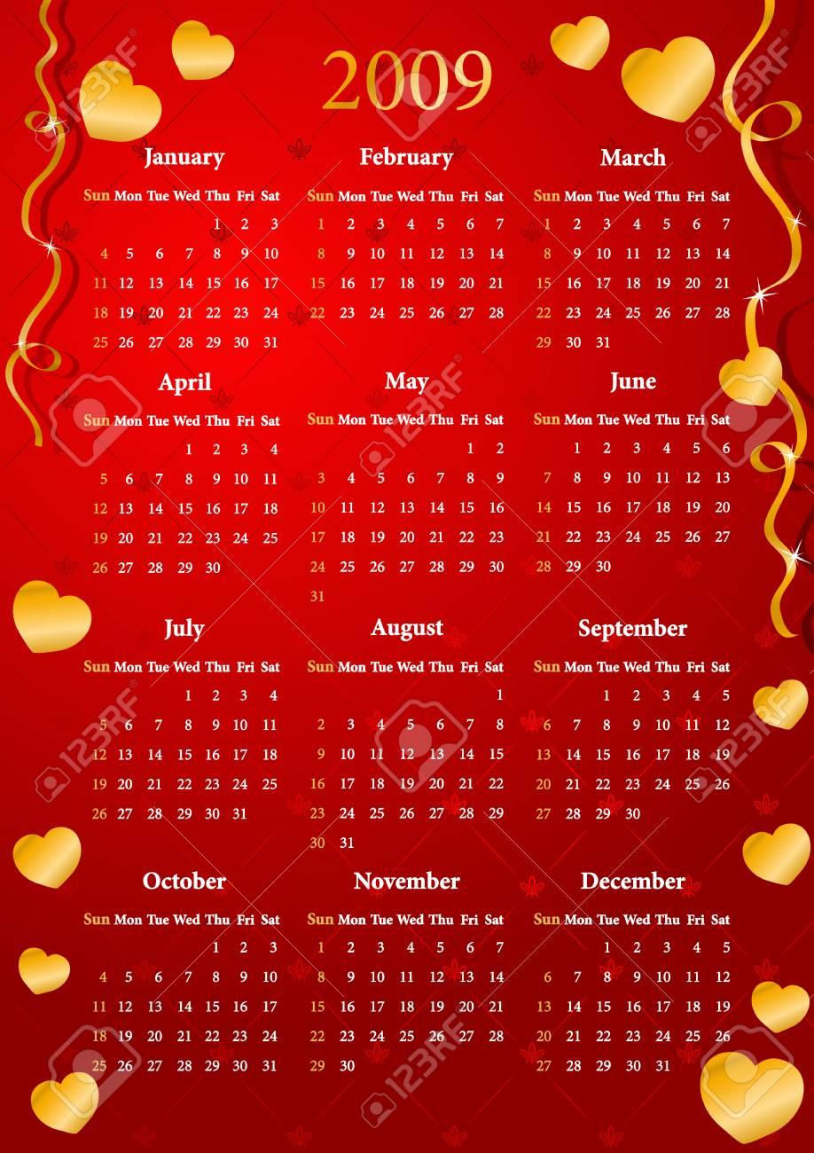 Vector American red calendar with golden hearts, starting from Sundays Stock Vector - 4237344