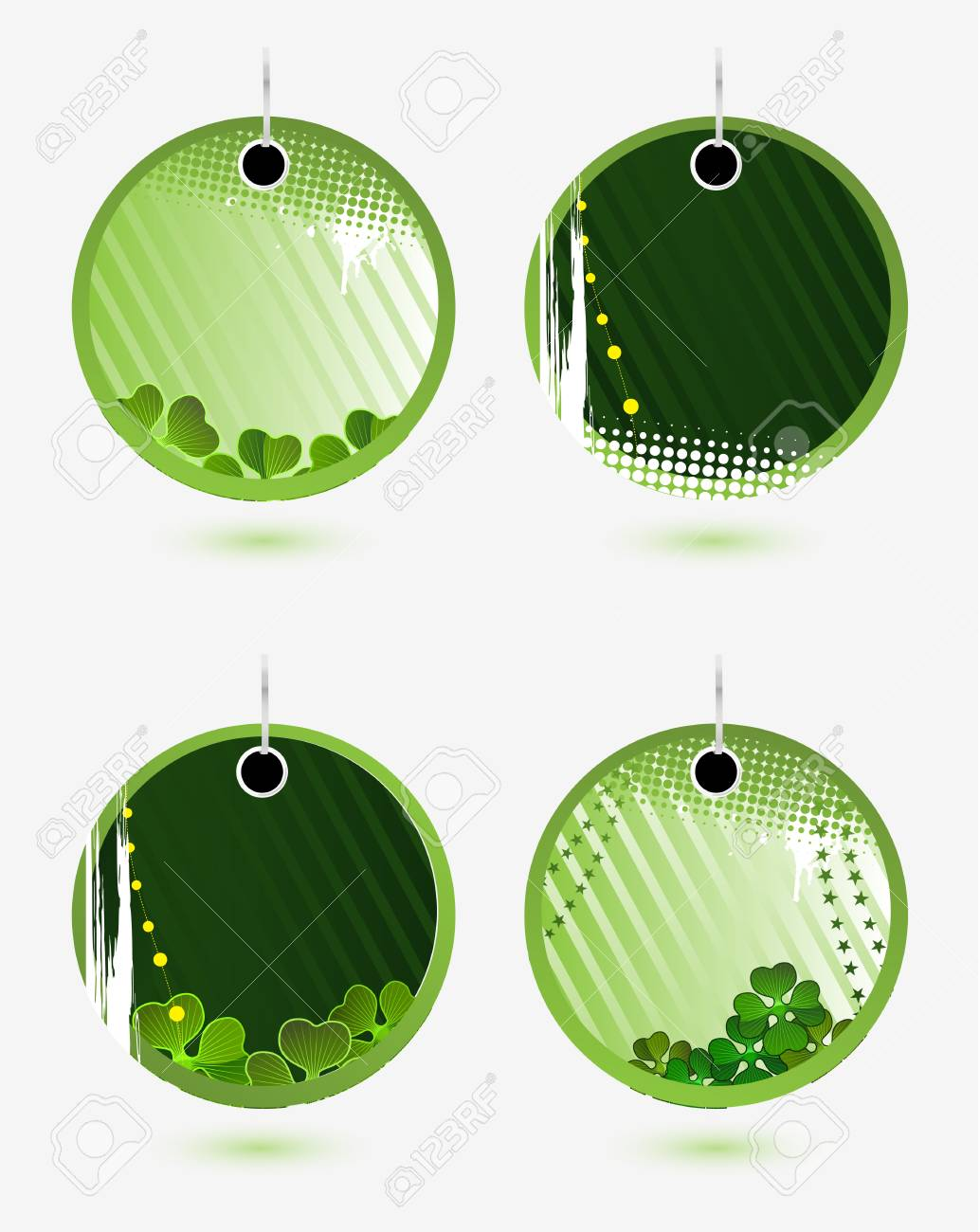 Set of vector green labels for St. Patrick�s Day Stock Vector - 4373173