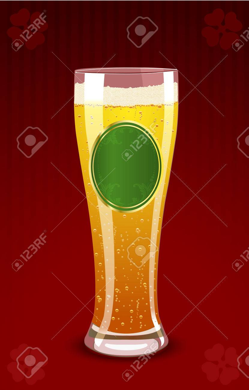 Vector illustration of a beer glass for St. Patrick�s Day Stock Vector - 4373176