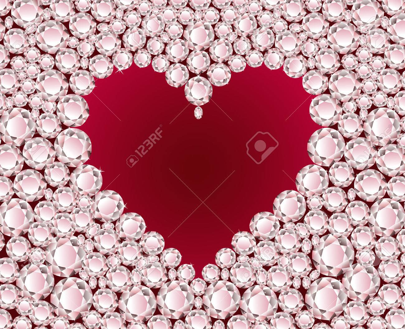 Vector red heart on shiny diamond background Stock Vector - 4928557