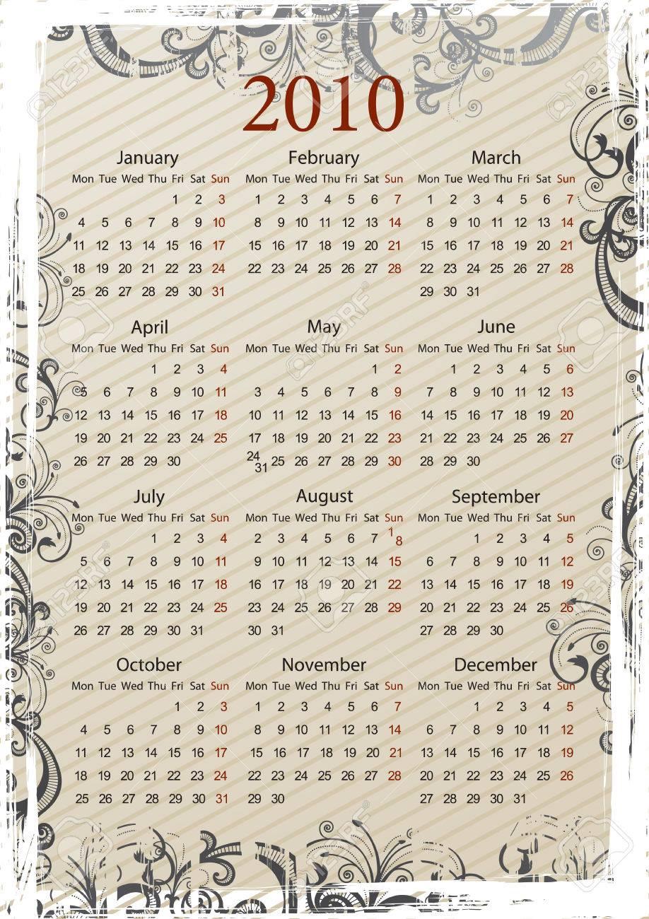 European Vector beige floral grungy calendar, starting from Mondays Stock Vector - 5402150