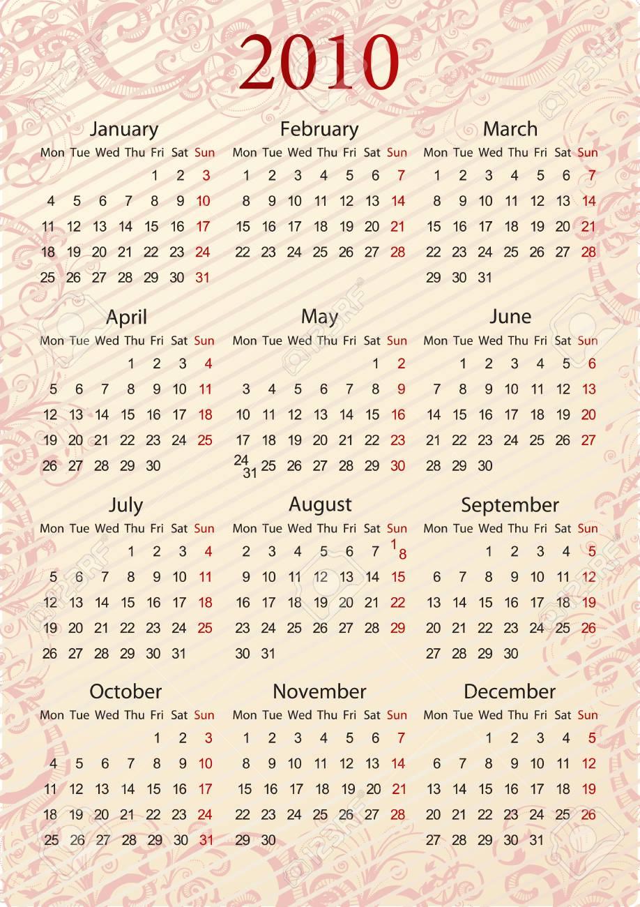 European Vector pink floral calendar, starting from Mondays Stock Vector - 6043230