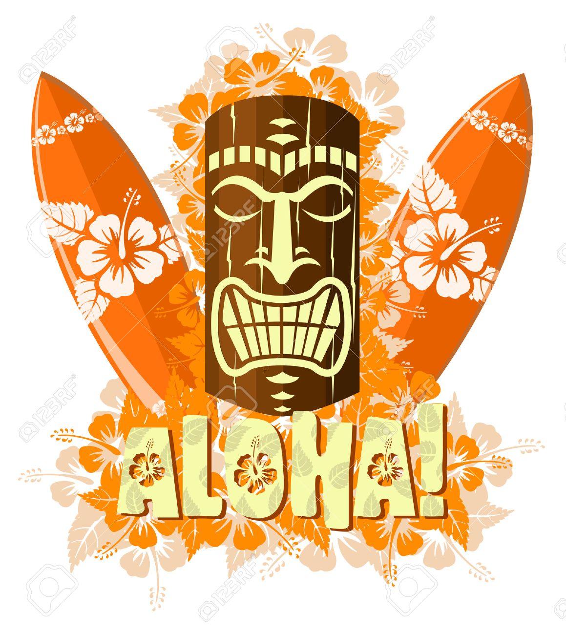 banque dimages illustration vectorielle de tiki orange masque avec les planches de surf et remettre le texte dessin aloha