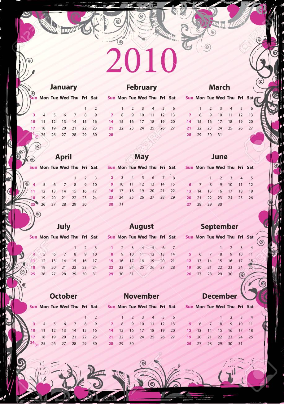 American Vector pink floral grungy calendar 2010 with hearts, starting from Sundays Stock Vector - 6129331