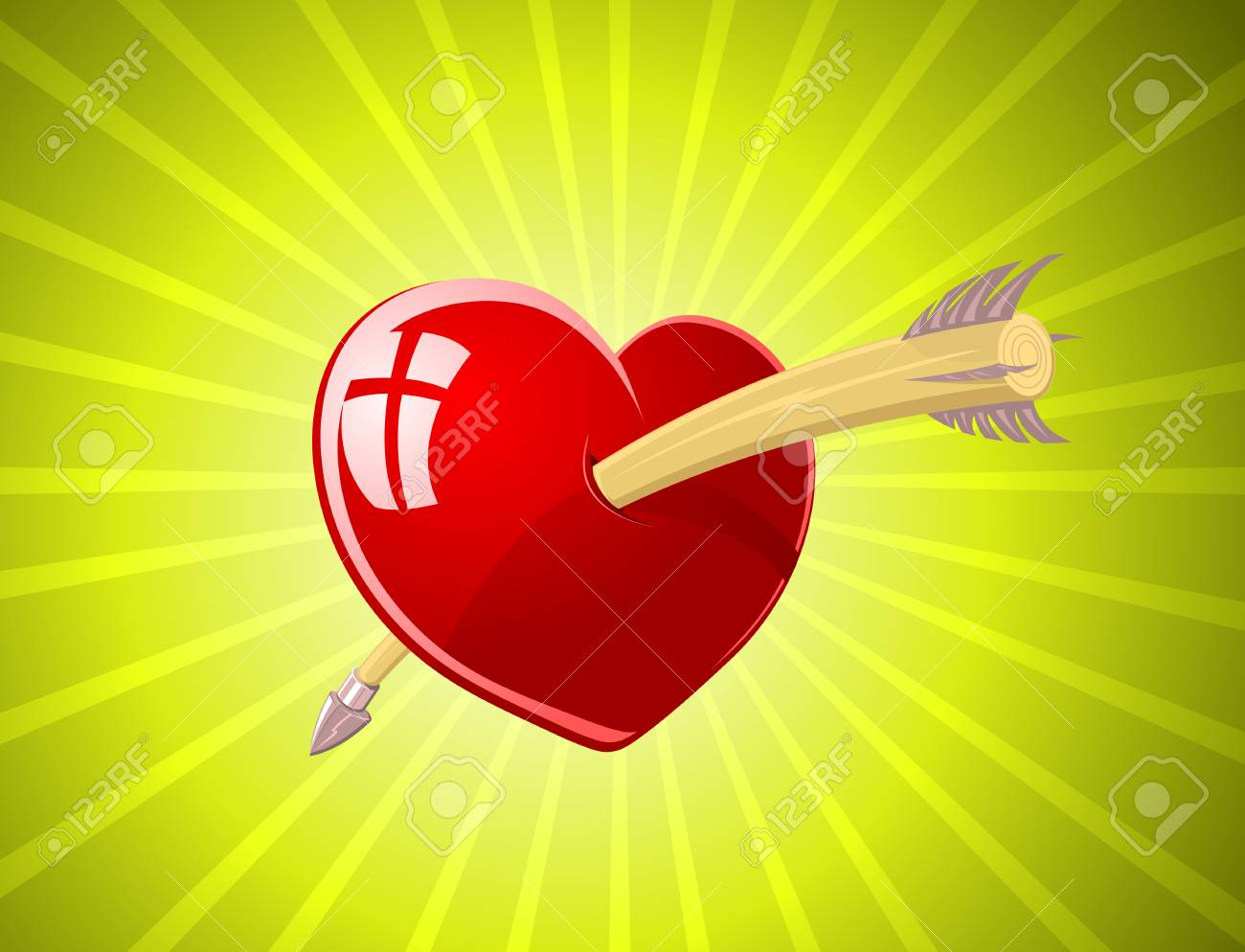 illustration of red glossy heart with arrow over green background Stock Vector - 6264690