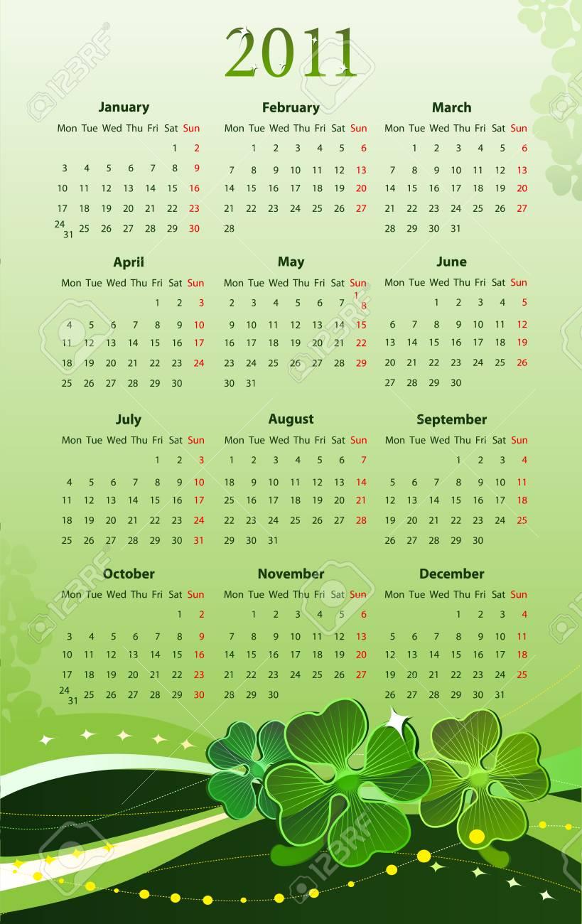 illustration of 2011 calendar for St. Patricks Day, starting from Mondays Stock Vector - 7645254
