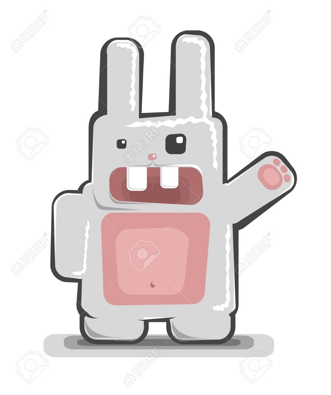 funny white rabbit Stock Vector - 7833905