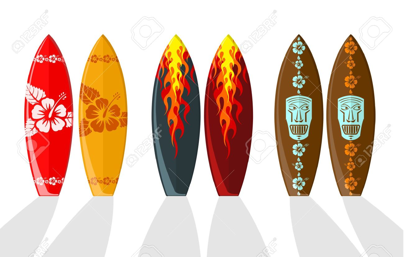 Surf Boards With Hawaiian Patterns And Flames Royalty Free Cliparts