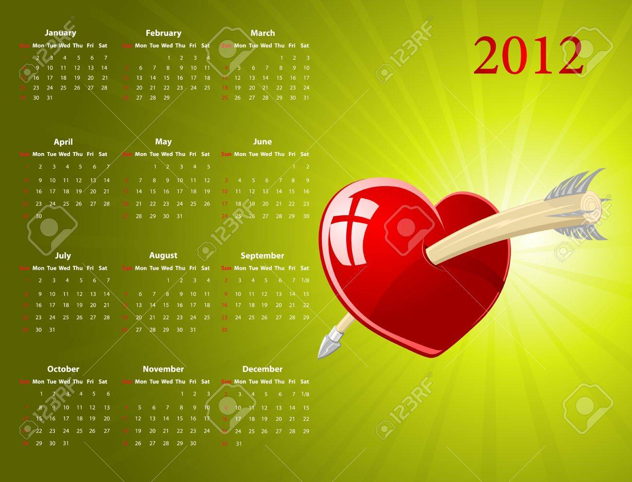 Vector American calendar with glossy heart for Valentines Day, starting from Sundays Stock Vector - 12284438