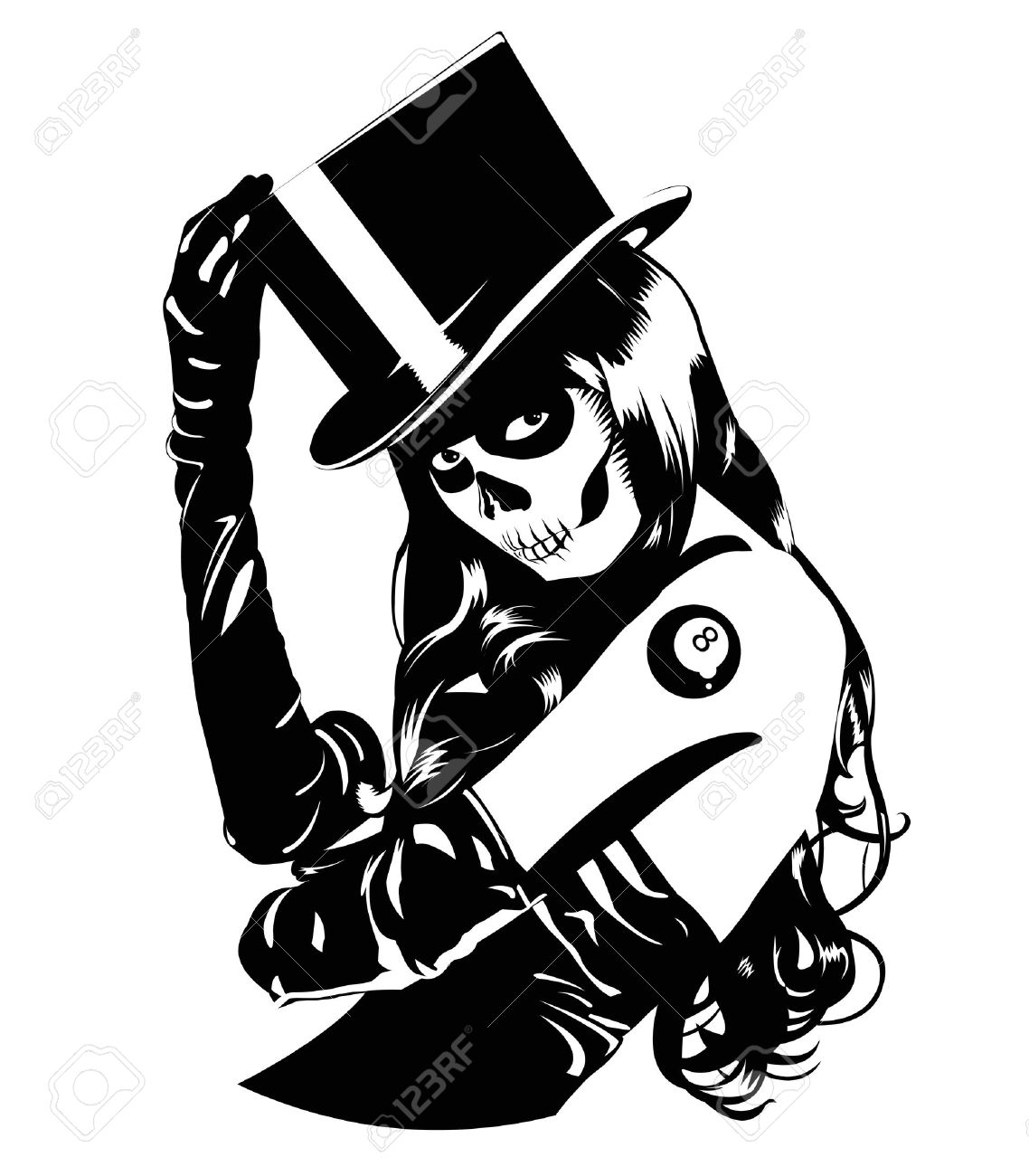 Vector illustration of Sugar Skull girl with tattoo, one color, easy to print Stock Vector - 13522441