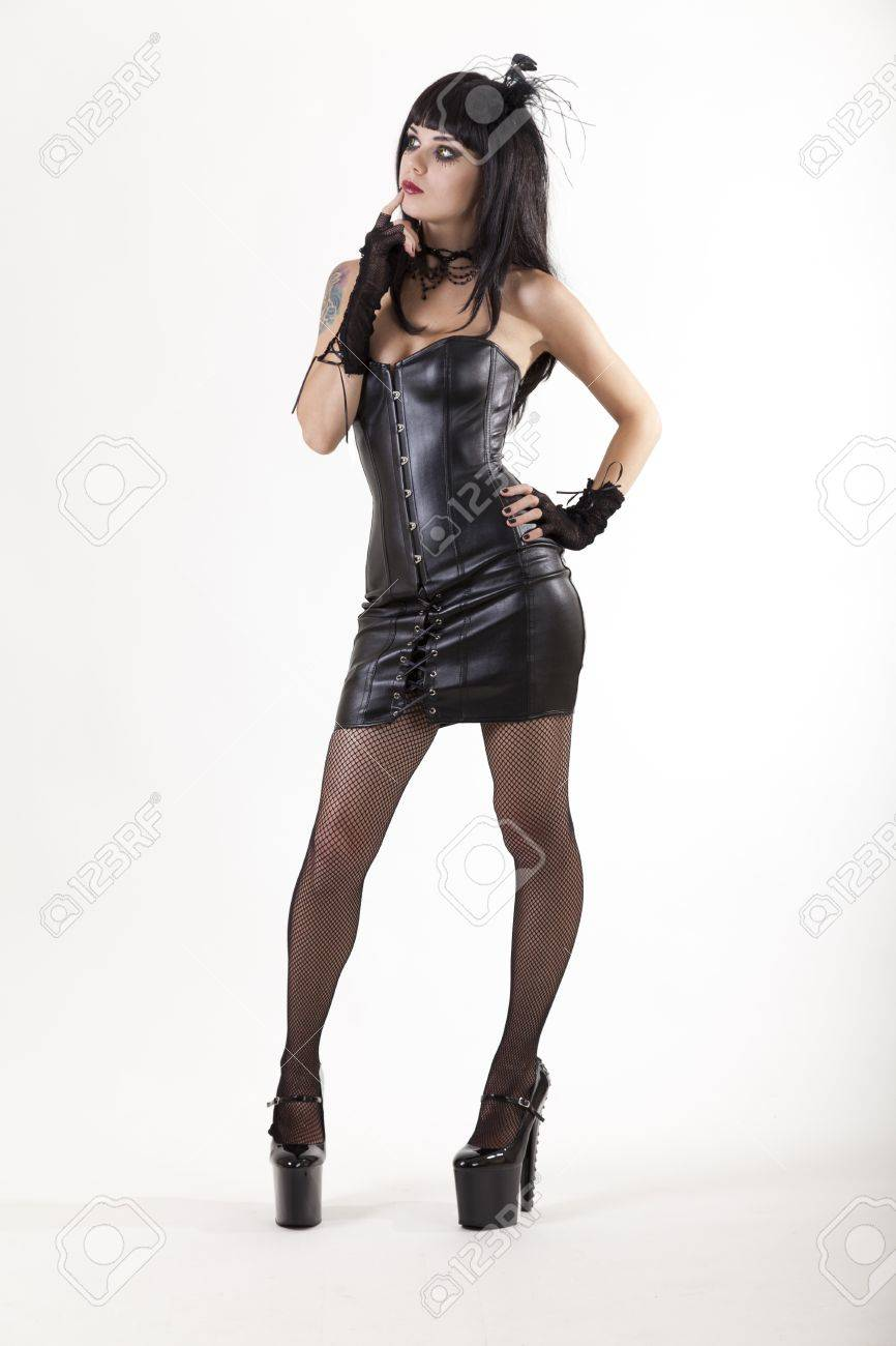 Full length shot of fetish woman in sexy outfit, white background Stock Photo - 13757051