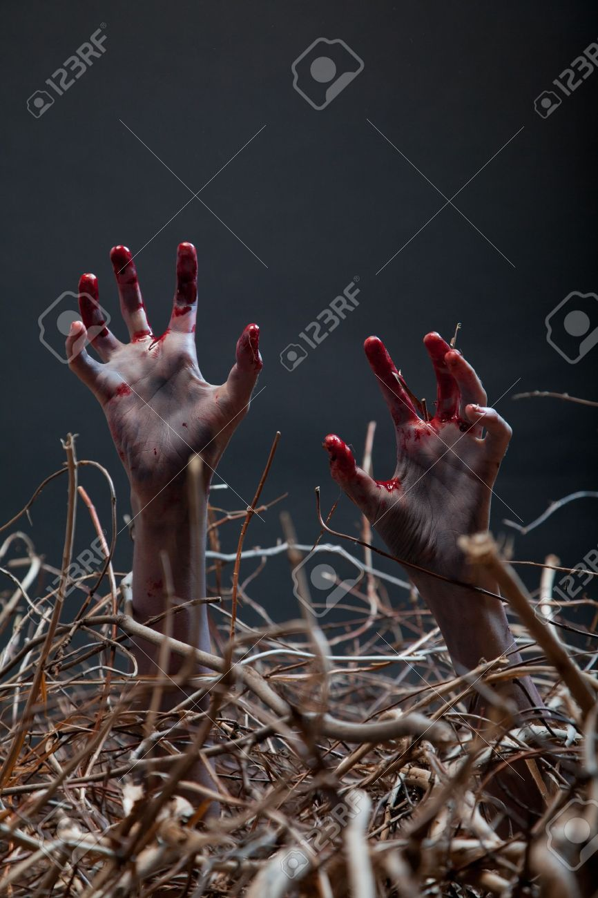 Zombie Stretching His Creepy Hands From The Grave, Halloween ...