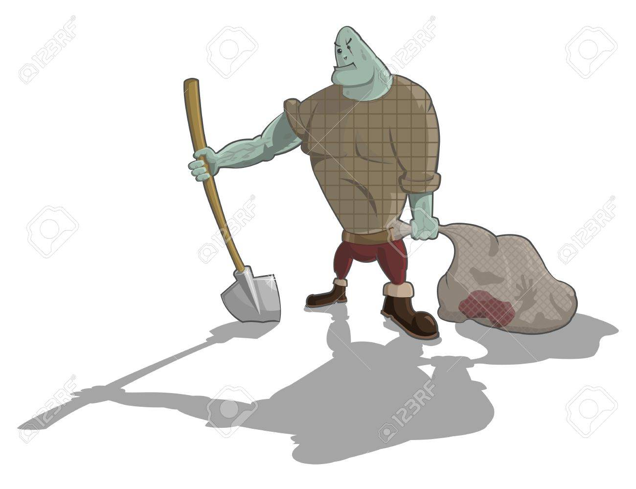 gravedigger with shovel and sack with corpse, Halloween artwork Stock Vector - 15819382