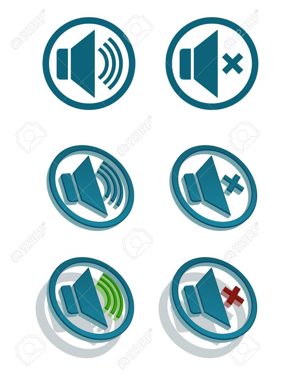 set of simple speaker icons Stock Vector - 15819329
