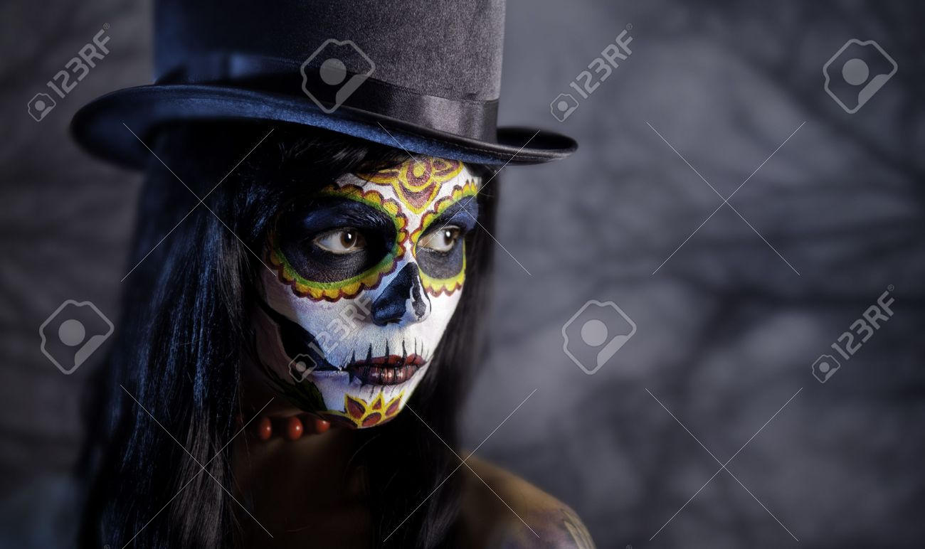 Sugar Skull Girl In Tophat In The Forest, Halloween Theme Stock ...