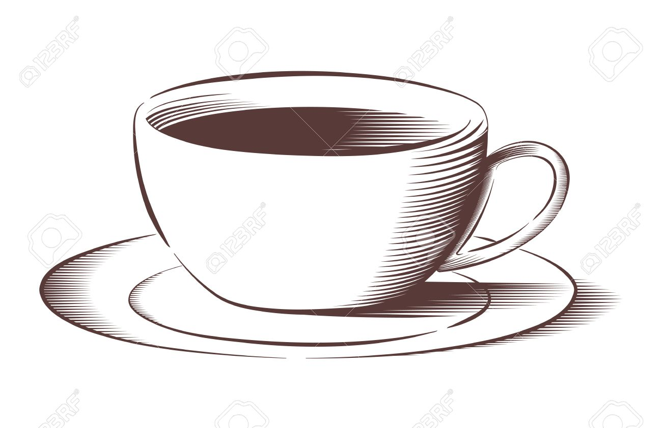 Vector Illustration Of Coffee Cup And Saucer In Engraved Style Royalty Free Cliparts Vectors And Stock Illustration Image 37189231