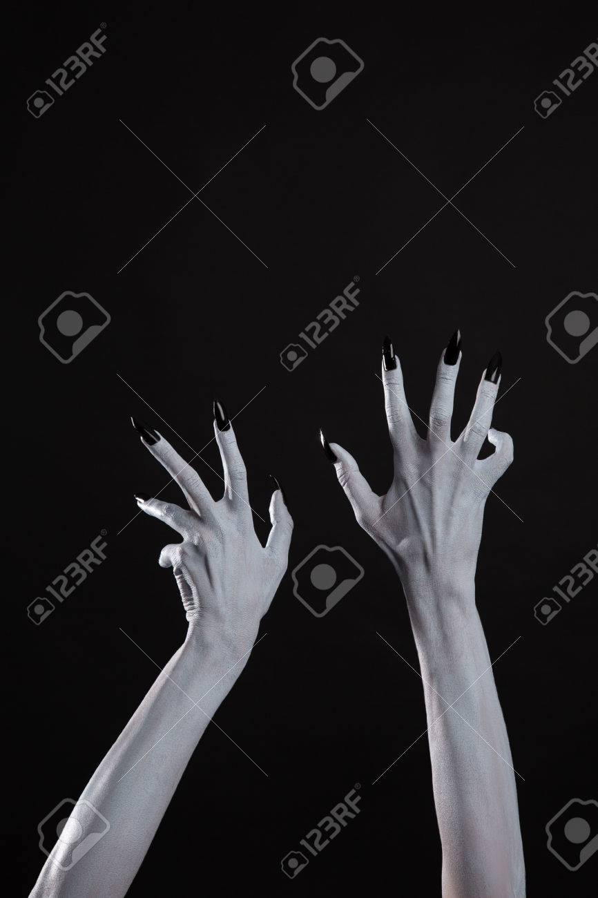 Pale Ghost Hands With Sharp Black Nails Body Art With Copy Space Stock Photo Picture And Royalty Free Image Image 67178702