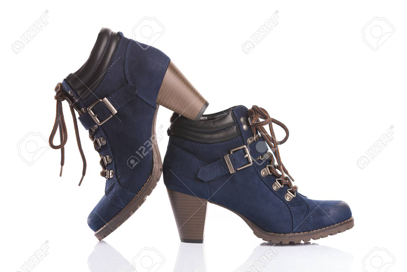 Navy Blue Ankle Boots With Chunky Heels Isolated On White
