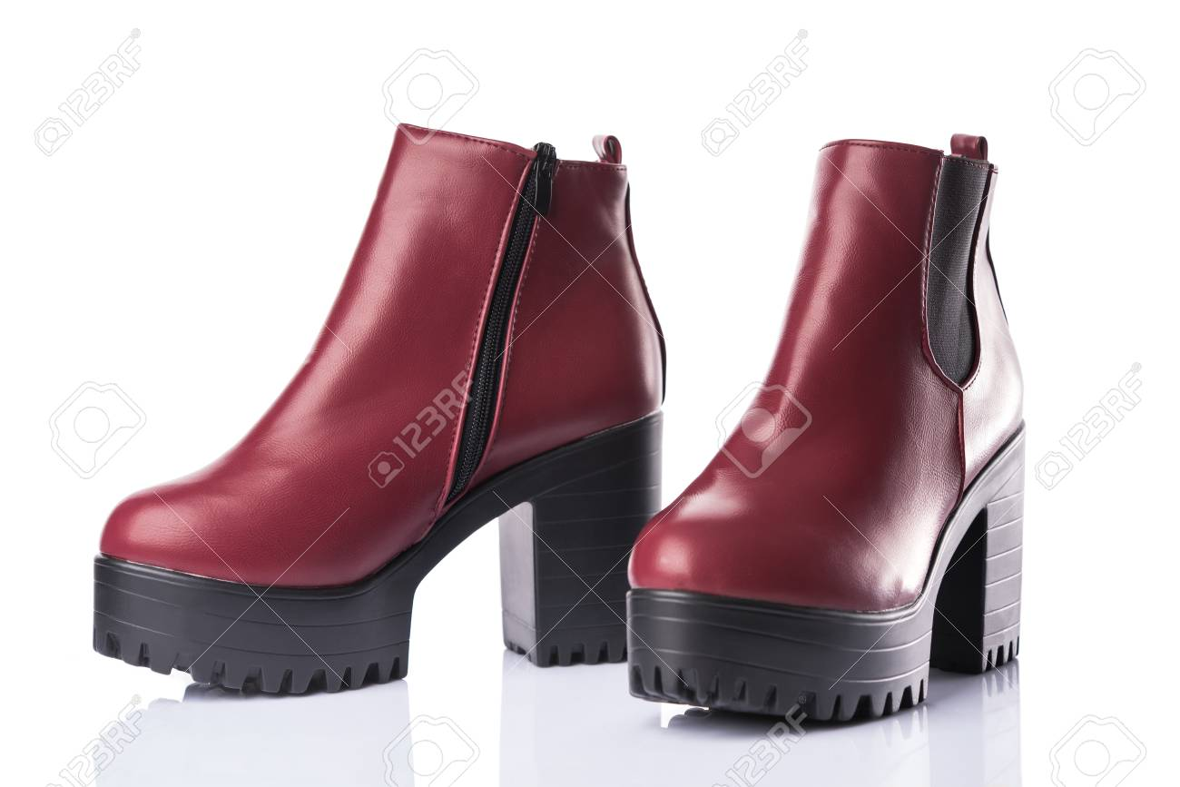 6bf5bc47105 Dark red chunky heel boots, isolated on white background