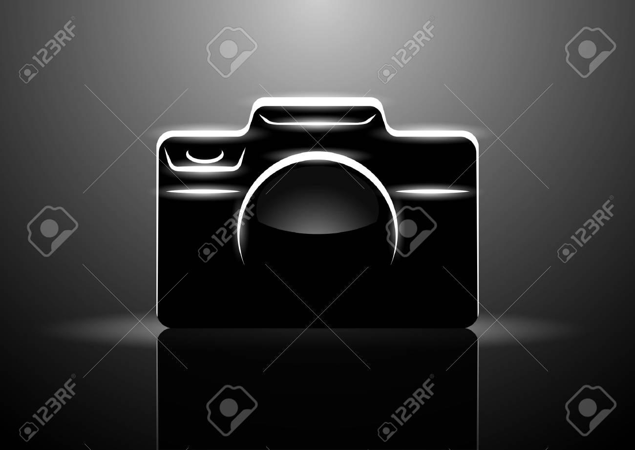 Vector illustration of professional digital camera on black background, eps10 - 90514334