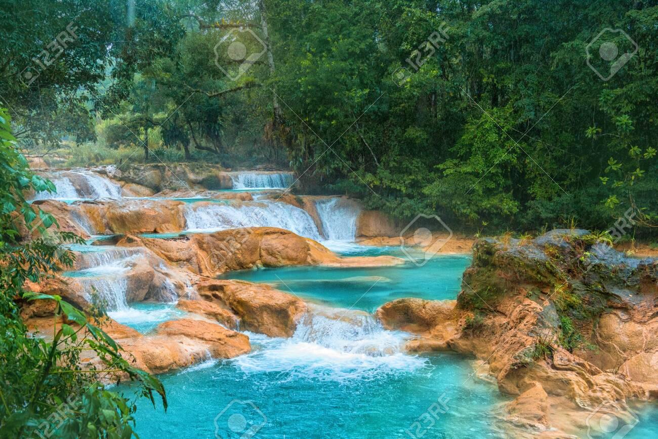 Cascadas de Agua Azul waterfalls. Agua Azul. Yucatan. Mexico - 127065341