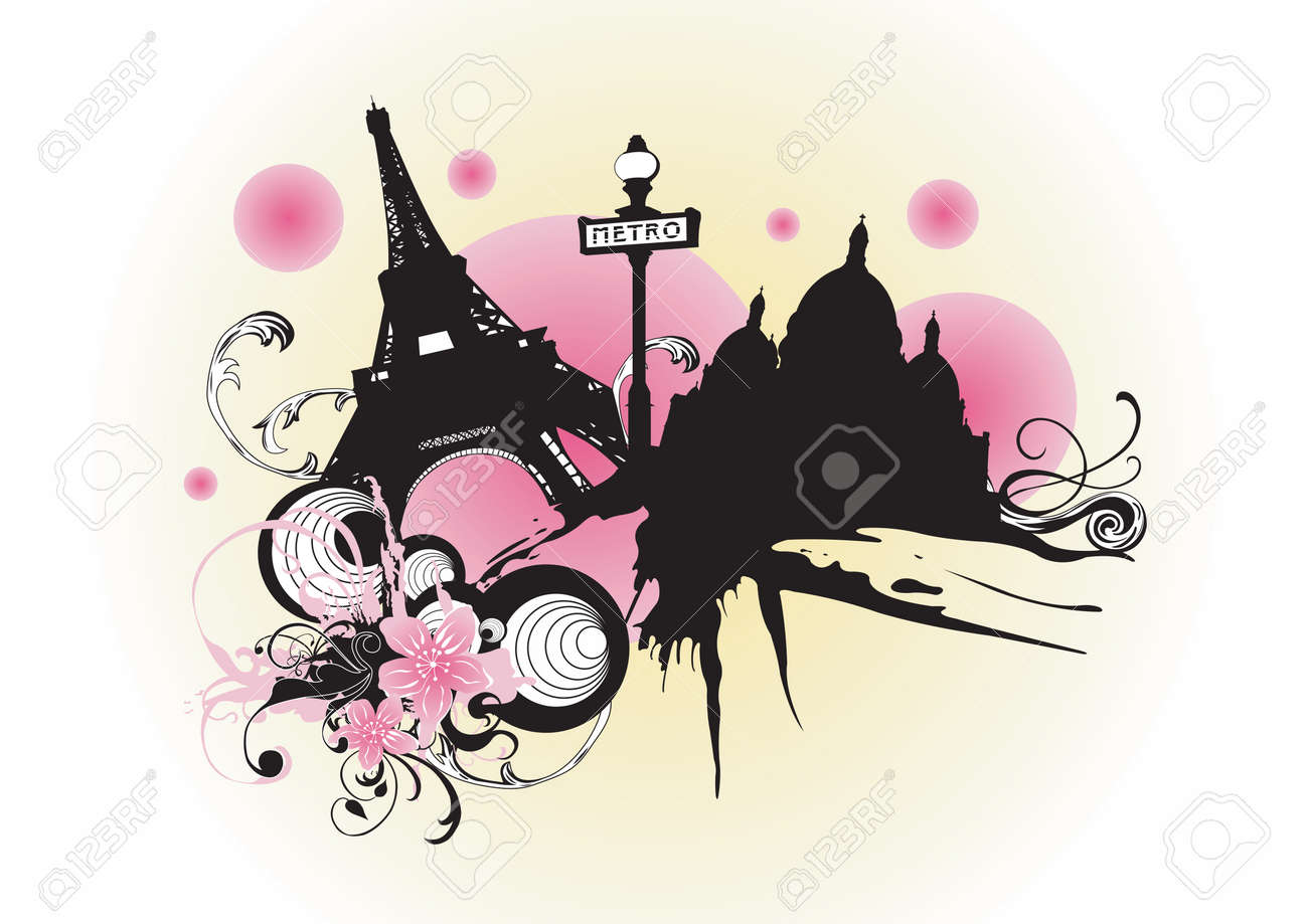 Illustration of the Eiffel tower and decorative patterns Stock Vector - 2885727