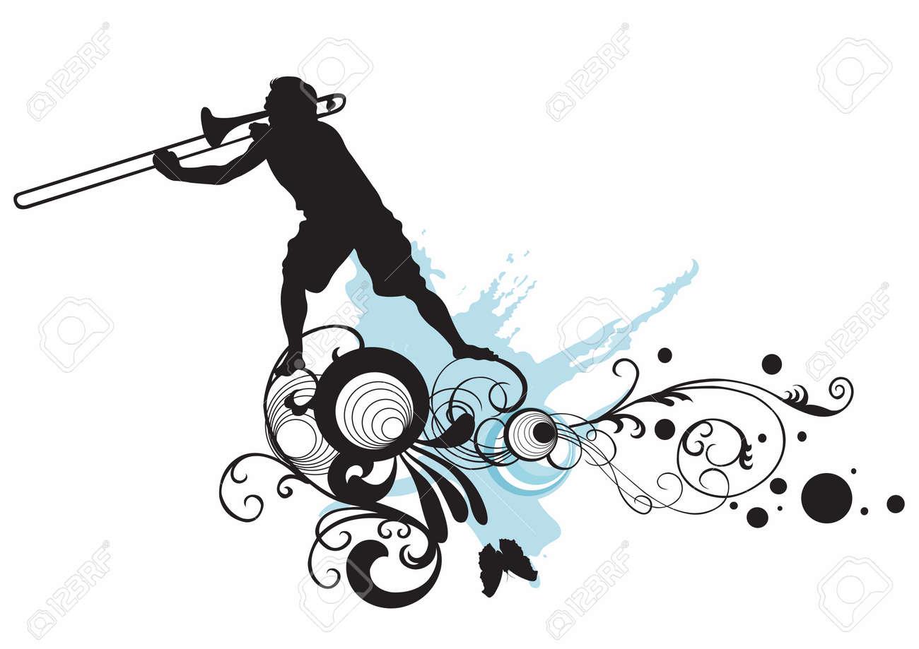 トロンボーンを演奏人のイラストのイラスト素材 ベクタ Image