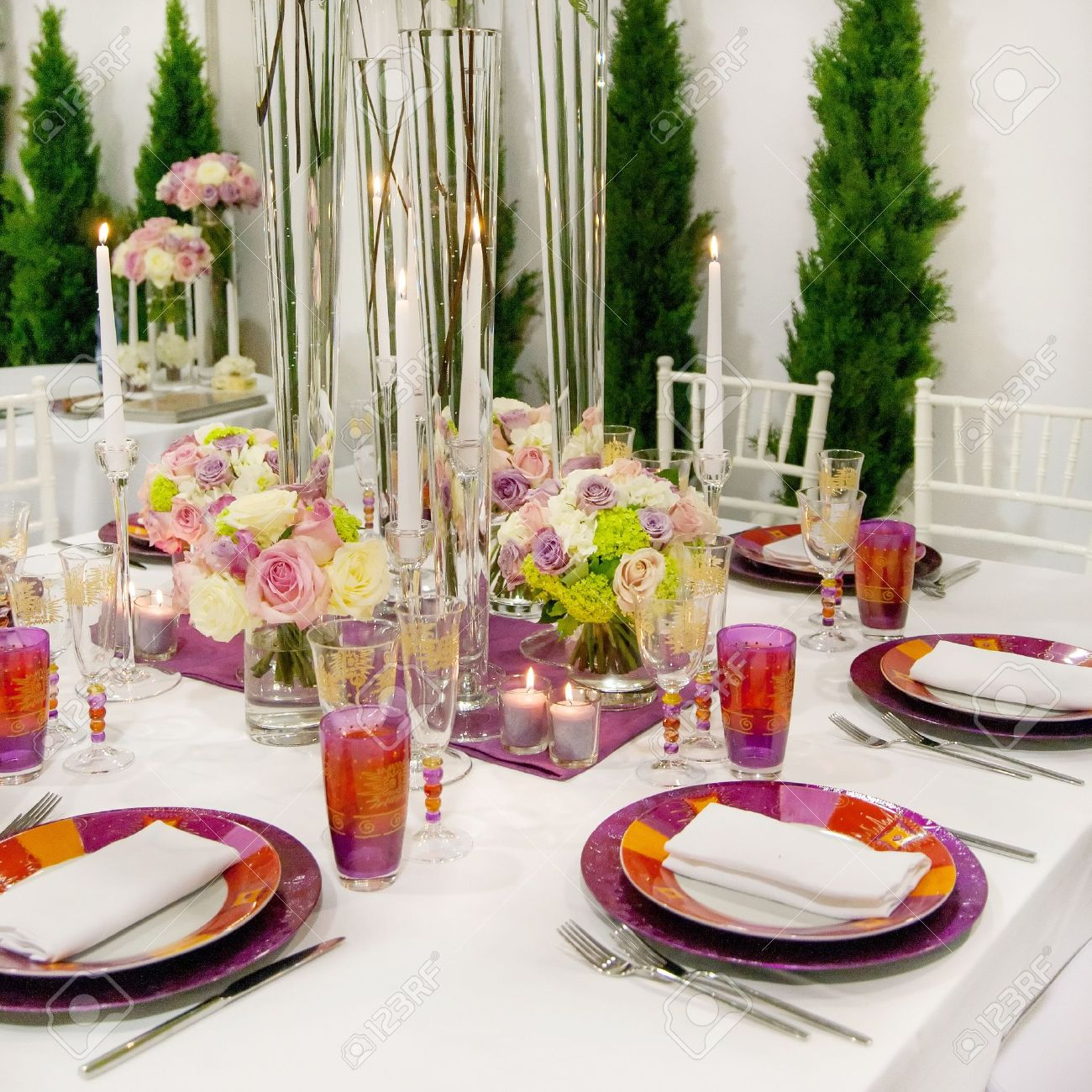 Decorated Tables Tables Decorated For A Party Or Wedding Reception Stock Photo