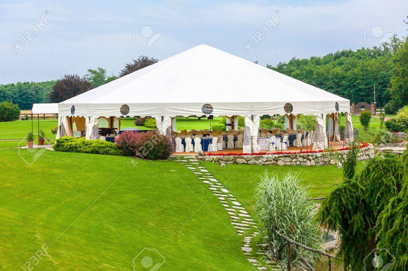 Outdoor Wedding Reception In Tent Stock Photo   21040339
