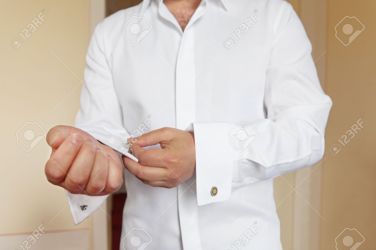 Groom Wears White Shirt And Cufflinks Stock Photo, Picture And ...