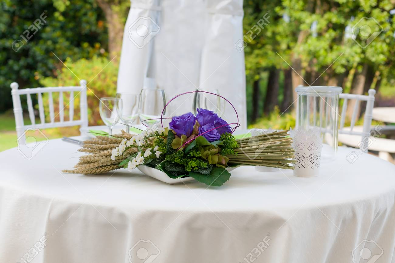 Outdoor Wedding Reception In Tent Stock Photo   55534071