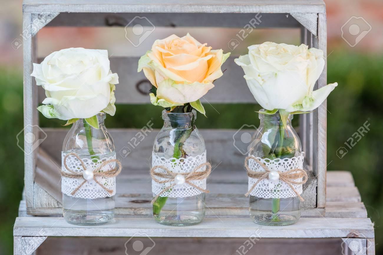 Vintage Wedding Decorations.Vintage Wedding Decor Bottles With Flowers