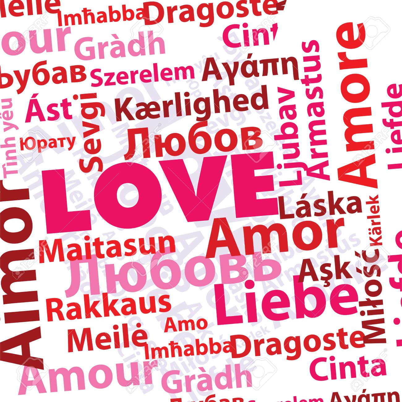 Vector Word Love In Many Different Languages In Pink And Red Colors
