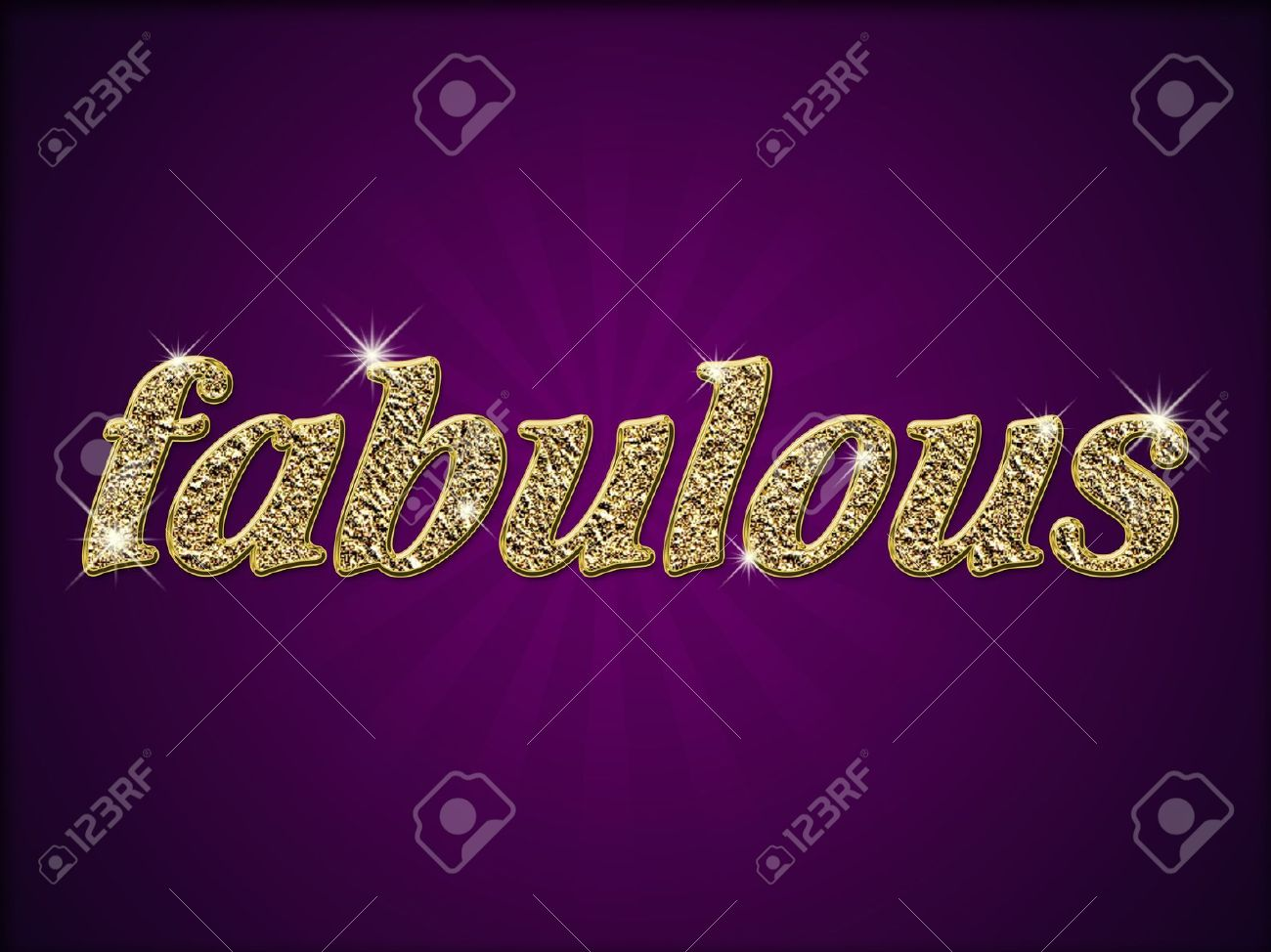 word fabulous in gold style on purple background stock photo