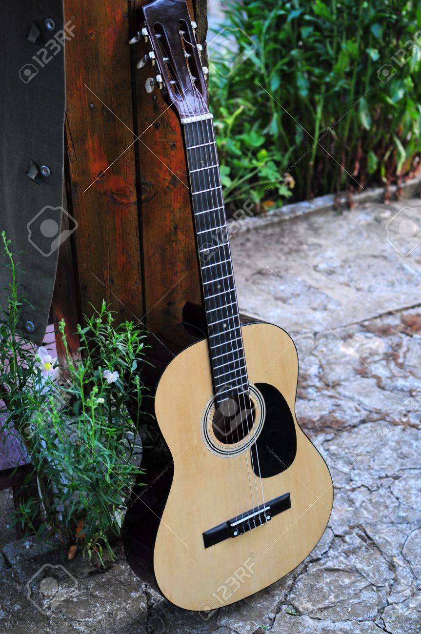 Acoustic Guitar Outside Stock Photo