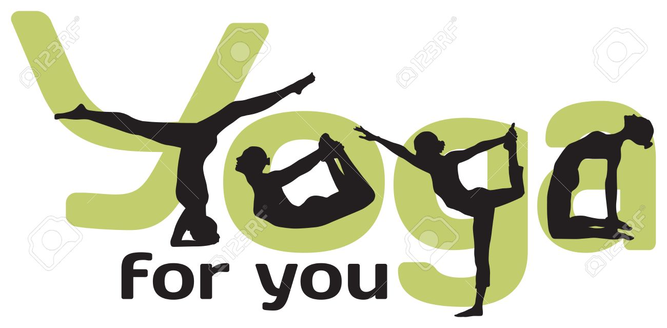 Logotype For Yoga With Silhouettes Of Positions And Green Letters On The White Background Stock Vector