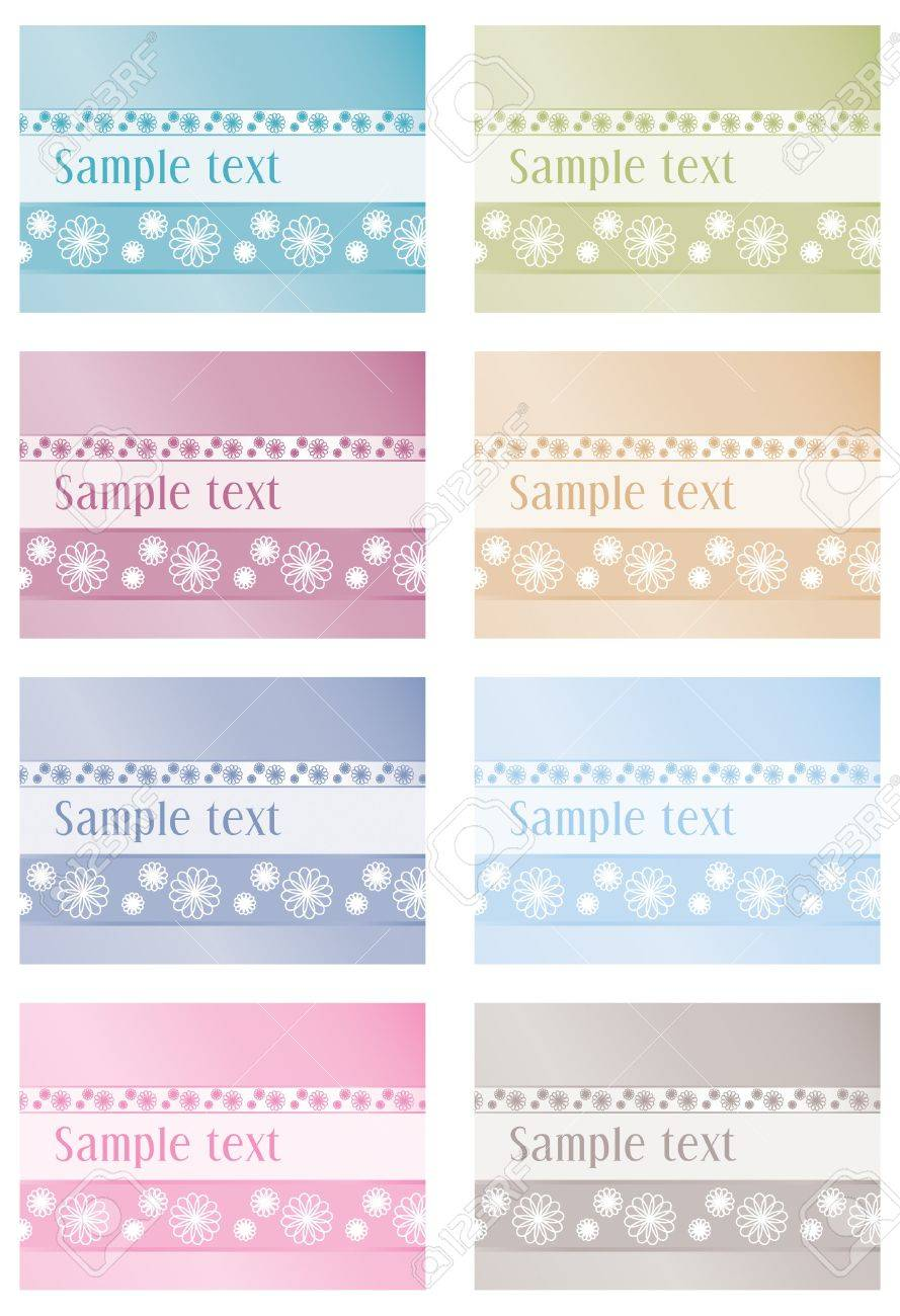 Floral labels in eight colours Stock Vector - 15144005