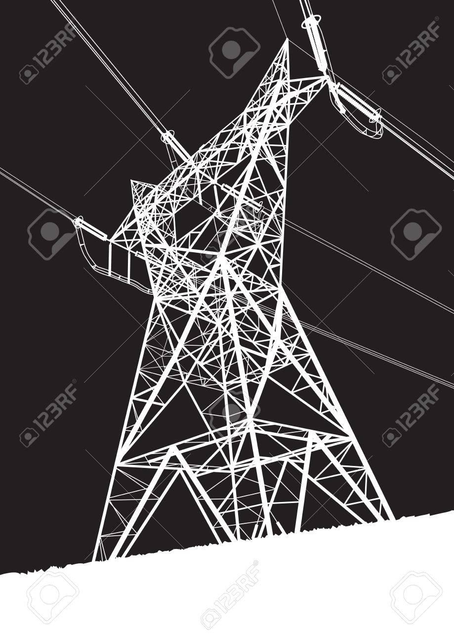 Transmission line on the black background Stock Vector - 17390664