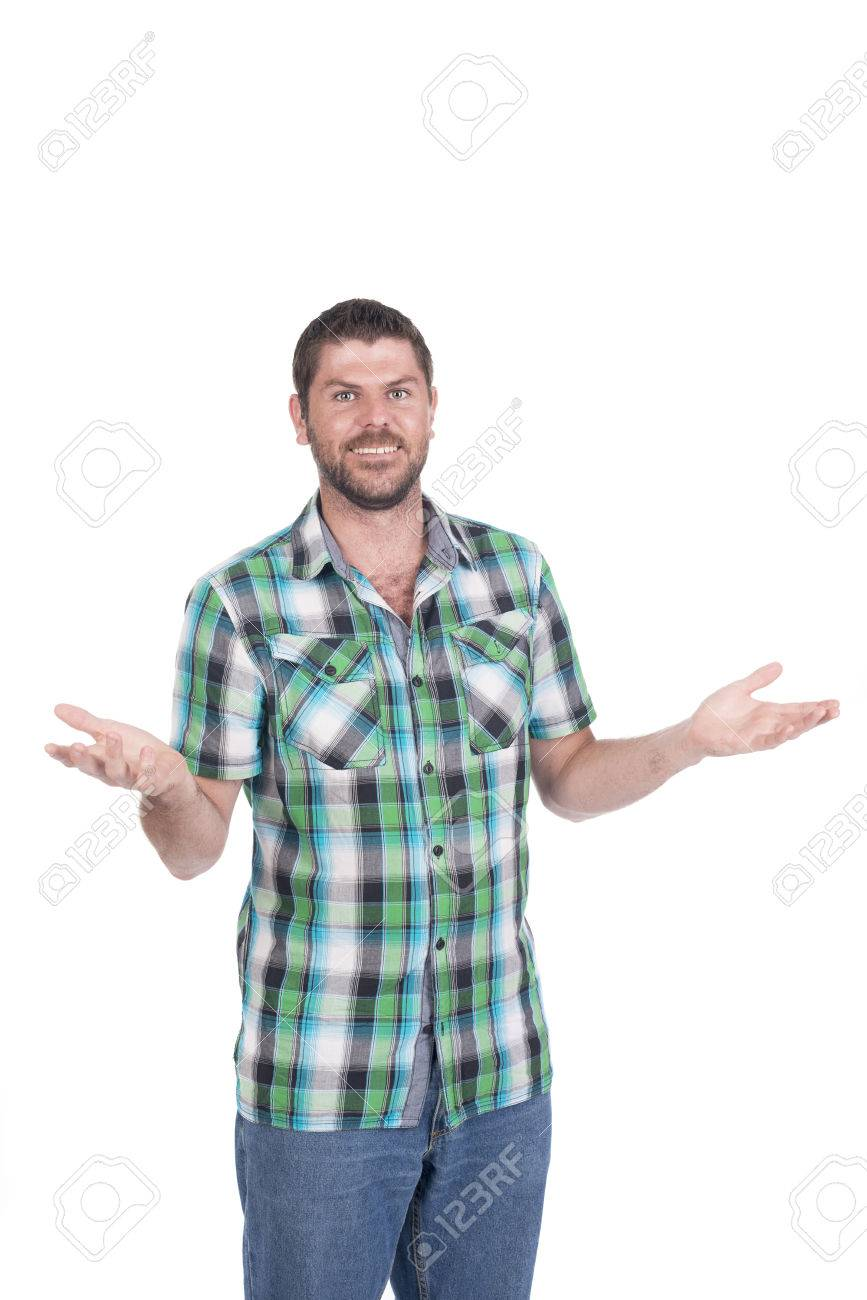 Deaf or hearing impaired man with in chequered shirt making signs with his hands Stock Photo - 26305582
