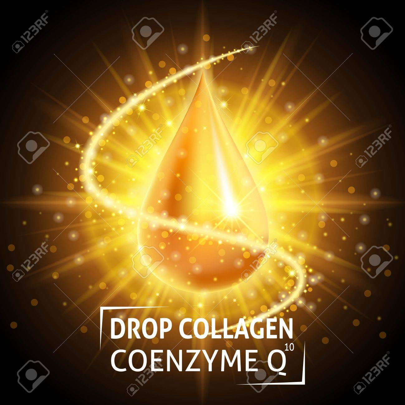 Serum Collagen Coenzyme Q10, realistic golden drop. Taking care of the skin. Anti age hyaluronic serum. Design cosmetics. Vector illustration. - 63445944