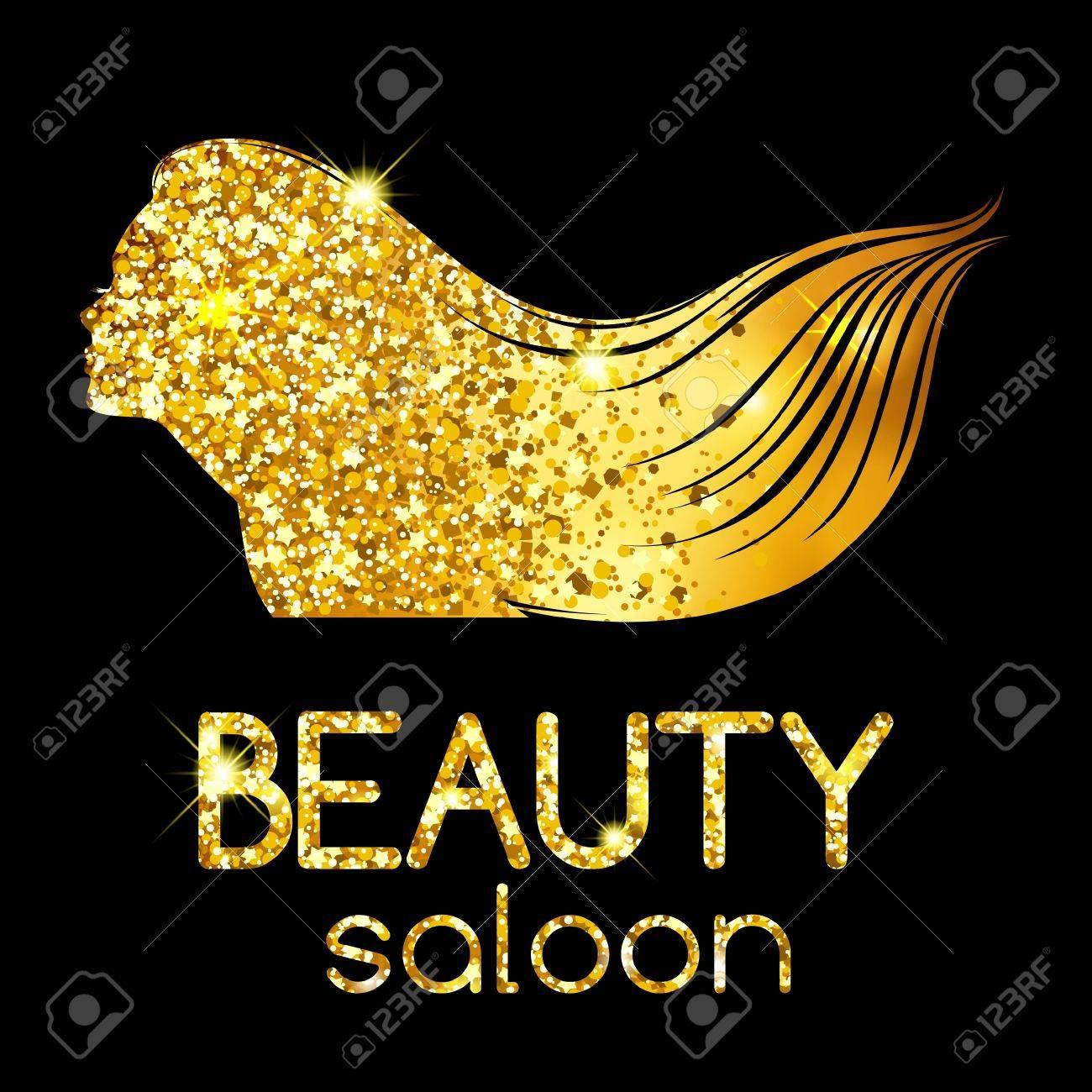Goldene Dekoration Von Einem Beauty-Salon, Winken Die Mädchen Umriss ...