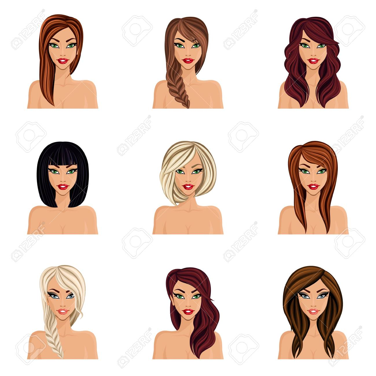 Set Of Hairstyles For Girls Create Their Avatar, A Young Woman ...