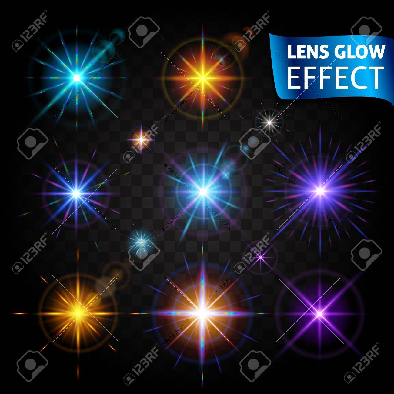 lens glow effect glowing light glare bright realistic lighting