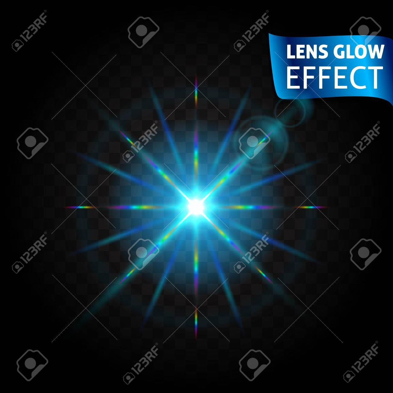 lens glow effect glowing light reflections realistic bright