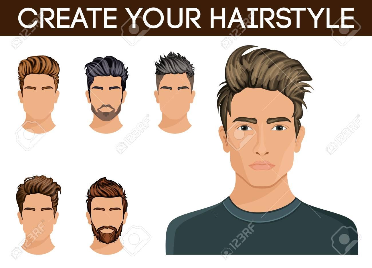 Männer Frisur Symbol Bart Schnurrbart Bart Hipster Männer Vektor