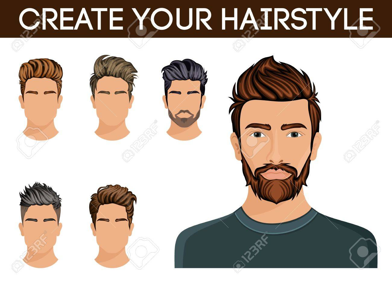 create, change of hairstyle choices. men hair style symbol hipster..