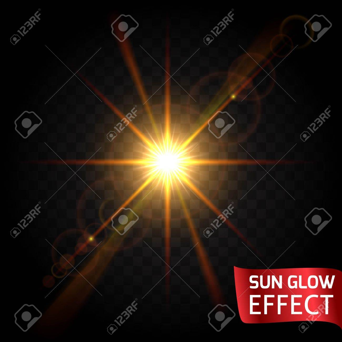 Sun Glow Effect Set On A Dark Background Transparent. Sunrise ... for Sun Light Effect Background  lp00lyp