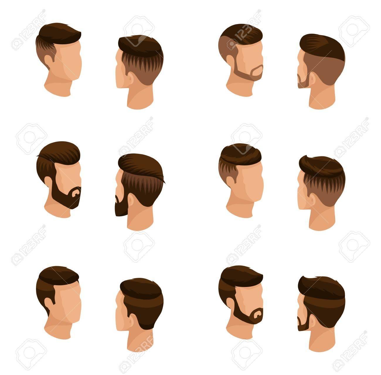 Conjunto Isometrico De Los Avatares Los Peinados De Los Hombres